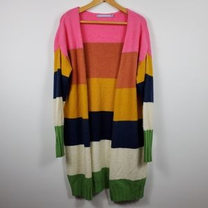 Multi Color Oversized Wool Blend Duster Cardigan